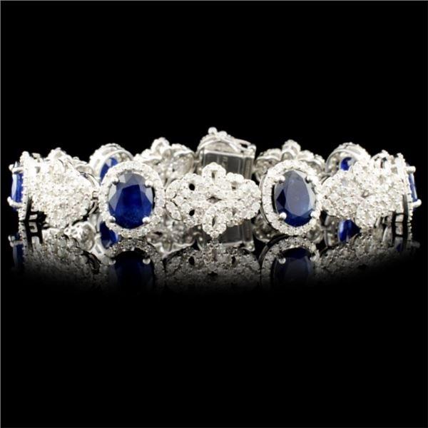 18K Gold 13.28ct Sapphire & 5.60ctw Diamond Bracel