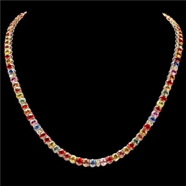 `14k Gold 40.00ct Sapphire & 1.00ct Diamond Neckla