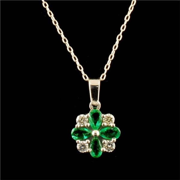 14K Gold 1.50ct Emerald & 0.20ct Diamond Pendant