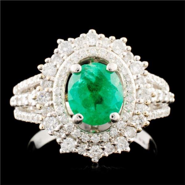 14K Gold 0.95ct Emerald & 0.82ctw Diamond Ring
