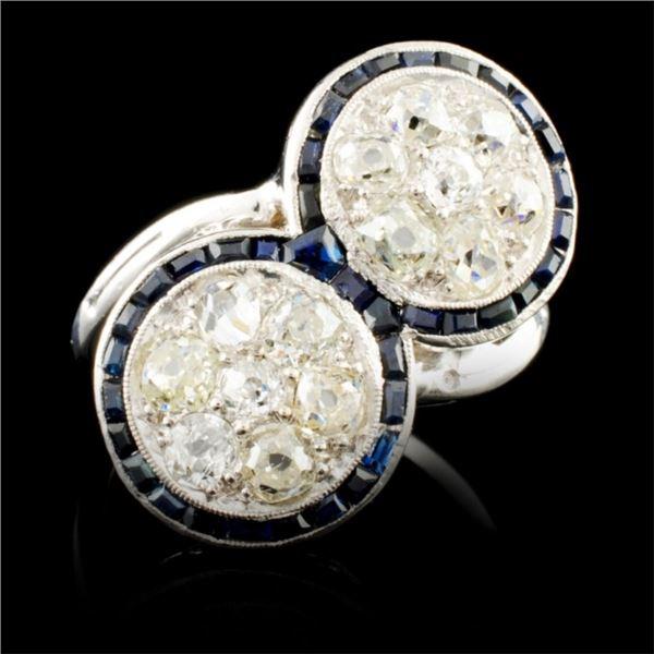 14K Gold 1.01ct Sapphire & 1.48ctw Diamond Ring