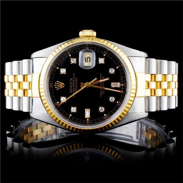 Rolex YG/SS DateJust Diamond 36MM Wristwatch