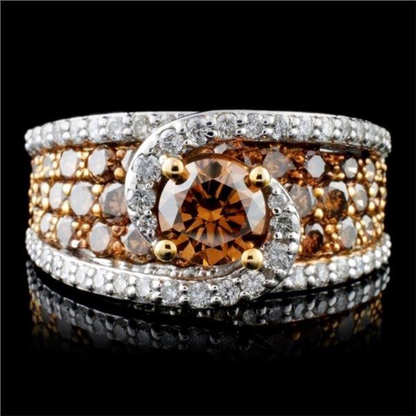 14K White Gold 3.31ctw Fancy Color Diamond Ring