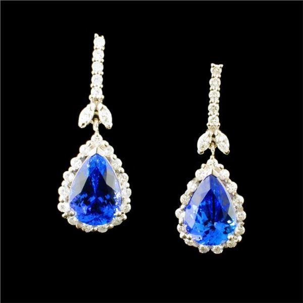 14k Gold 8.26ct Tanzanite & 1.34ctw Diamond Earrin