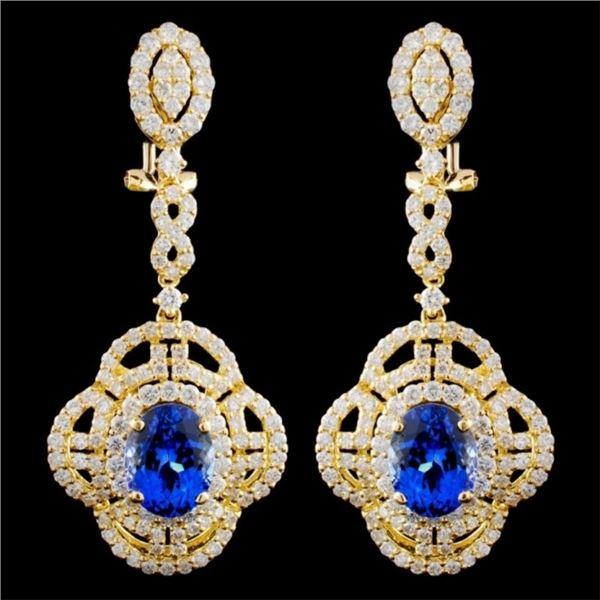 18K Gold 4.47ctw Tanzanite & 3.02ctw Diamond Earri