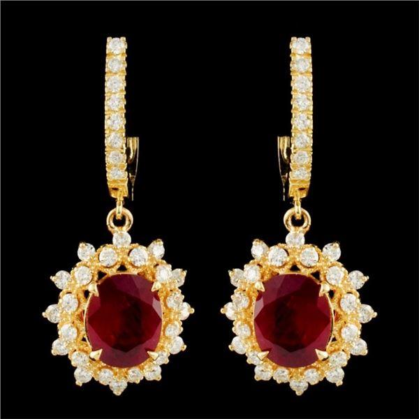 14K Gold 5.46ct Ruby & 1.74ctw Diamond Earrings