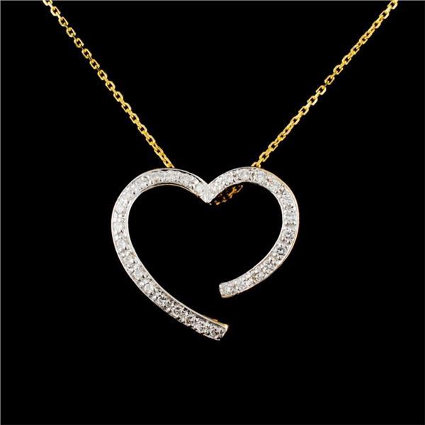 14K Gold 0.18ctw Diamond Pendant