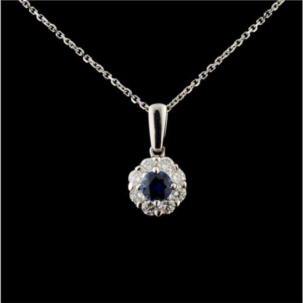 18K White Gold 0.36ct Sapphire & 0.46ct Diamond Pe