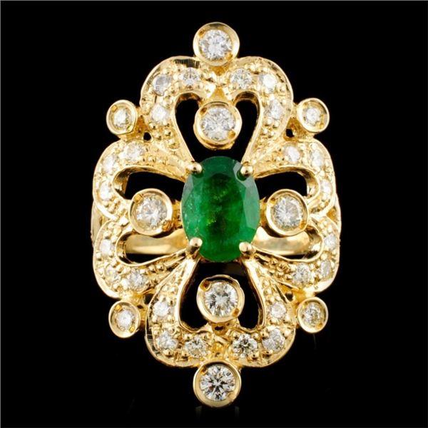 14K Gold 1.50ct Emerald & 1.45ctw Diamond Ring
