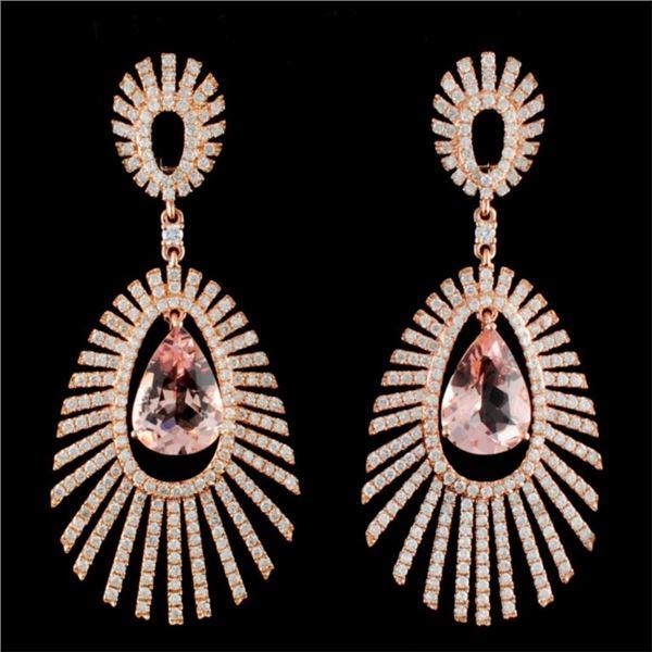 14K Gold 6.79ctw Morganite & 3.55ctw Diamond Earri