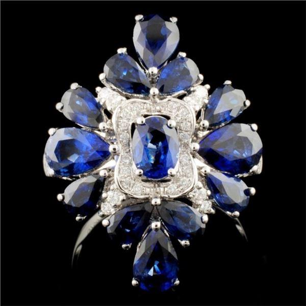 18K Gold 4.95ct Sapphire & 0.34ct Diamond Ring