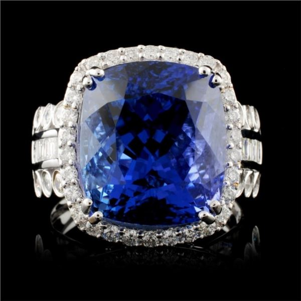 18K Gold 12.70ct Tanzanite & 1.23ctw Diamond Ring