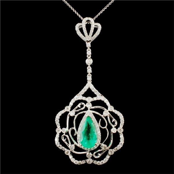 18K Gold 3.30ct Emerald & 1.98ctw Diamond Pendant