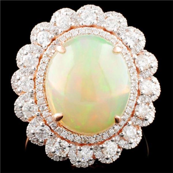 14K Gold 4.66ct Opal & 1.15 Diamond Ring
