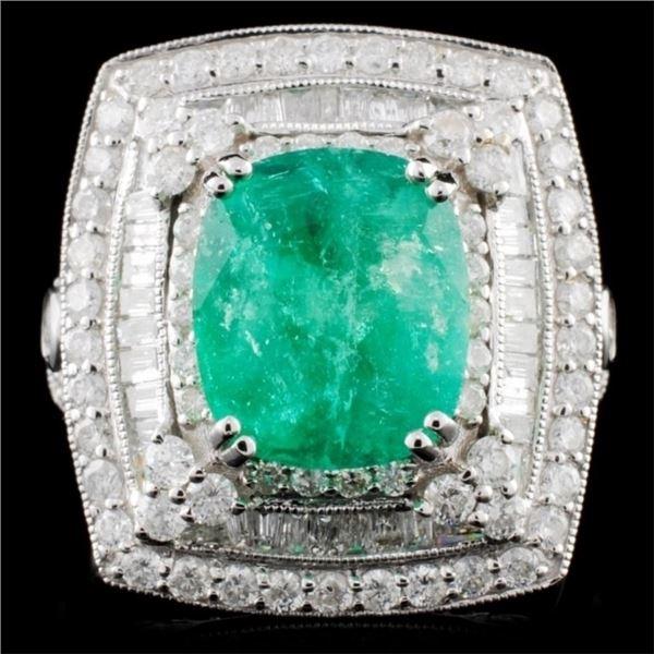 18K White Gold 3.24ct Emerald & 1.58ctw Diamond Ri