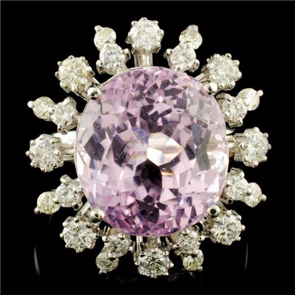 14K Gold 12.91ct Kunzite & 1.00ctw Diamond Ring