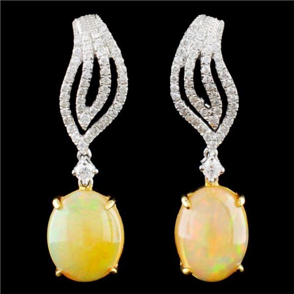 18K Gold 4.97ct Opal & 0.51ctw Diamond Earrings
