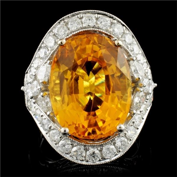 18K Gold 13.16ct Sapphire & 1.76ctw Diamond Ring