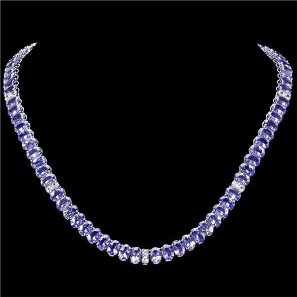 `14k Gold 55.00ct Tanzanite & 1.35ct Diamond Neckl