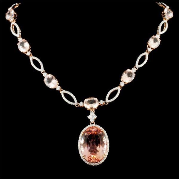 14K Gold 44.18ct Morganite & 4.25ctw Diamond Neckl