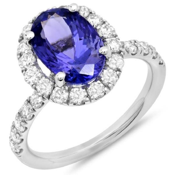14K Gold 3.50ct Tanzanite & 1.00ct Diamond Ring