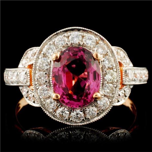 18K Gold 1.50ct Spinel & 0.63ctw Diamond Ring