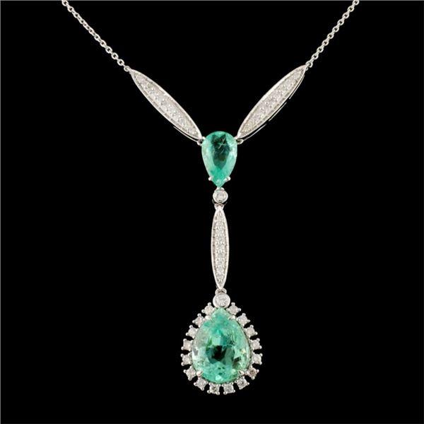 18K Gold 5.26ct Emerald & 0.59ctw Diamond Necklace