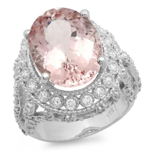 14K Gold 10.00ct Morganite & 1.50ct Diamond Ring