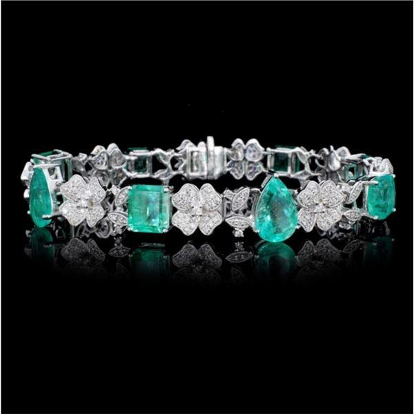 18K Gold 14.56ct Emerald & 2.16ct Diamond Bracelet