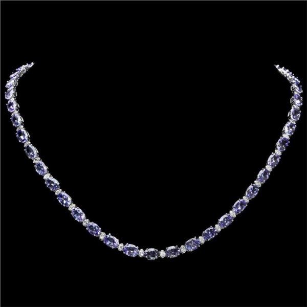 `14k Gold 30.00ct Tanzanite & 1.00ct Diamond Neckl
