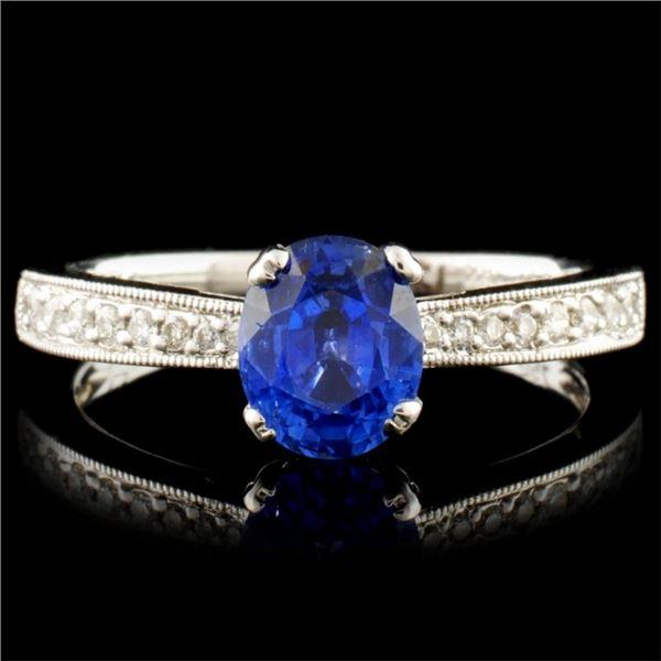 18K Gold 1.13ct Sapphire & 0.12ctw Diamond Ring