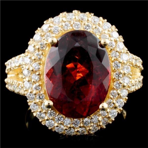14K Gold 5.13ct Tourmaline & 1.14ctw Diamond Ring
