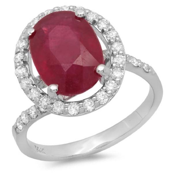 14K Gold 5.00ct Ruby & 0.50ct Diamond Ring