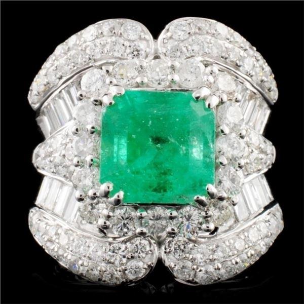 18K Gold 3.16ct Emerald & 2.95ctw Diamond Ring