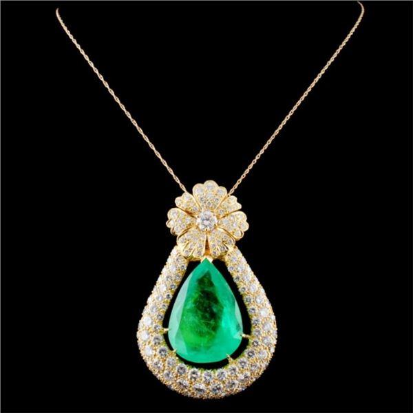 18K Gold 38.07ct Emerald & 15.00ctw Diamond Pendan