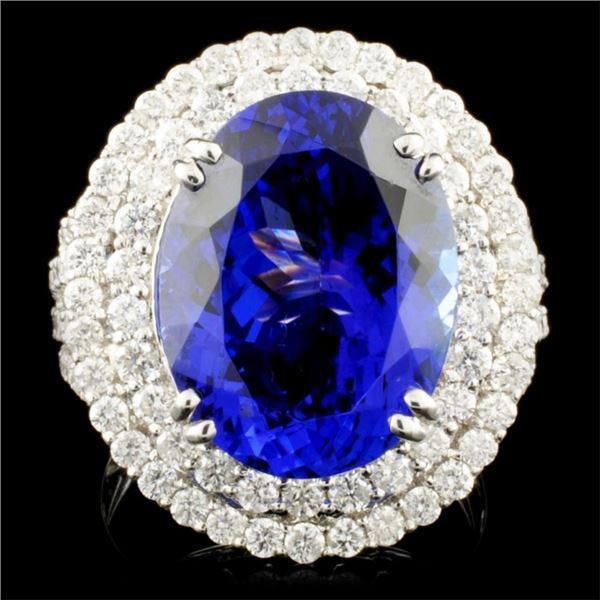 18K Gold 11.05 Tanzanite & 1.77ctw Diamond Ring