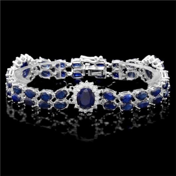 `14k Gold 20.00ct Sapphire & 1.70ct Diamond Bracel