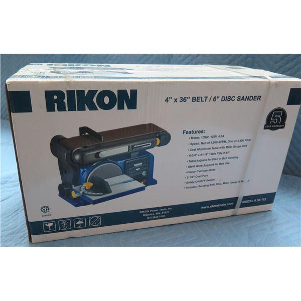 """Rikon 4""""x36"""" Belt / 6"""" Disc Sander Model 50-112 New in Box"""
