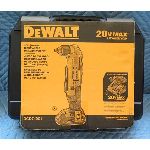 """DeWalt 10mm 3/8"""" Right Angle Drill/Driver Kit Model DCD740C1 New in Box"""
