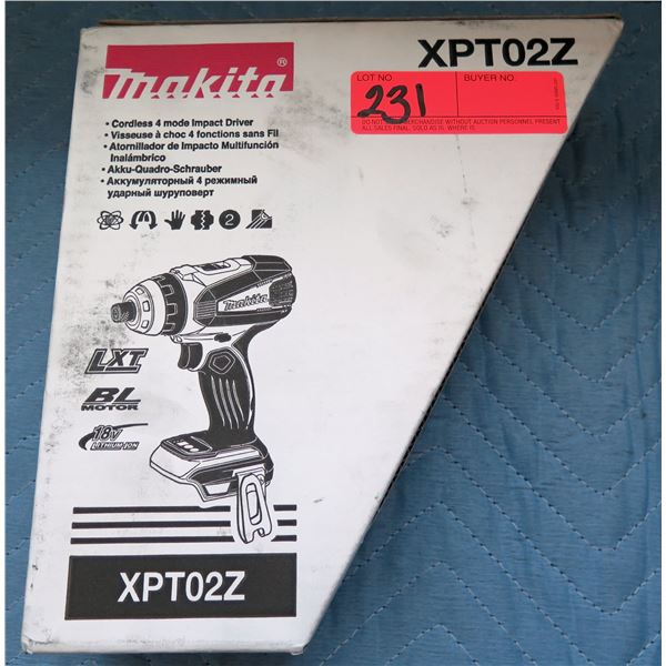 Makita Cordless 4 Mode Impact Driver Model XPT02Z New in Box