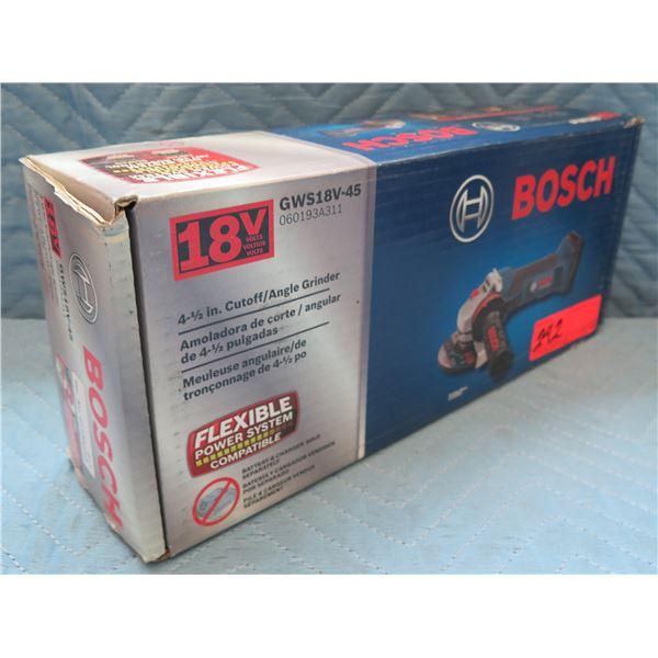 """Bosch 4-1/2"""" Cutoff/Angle Grinder Model GWS18V-45 New in Box"""