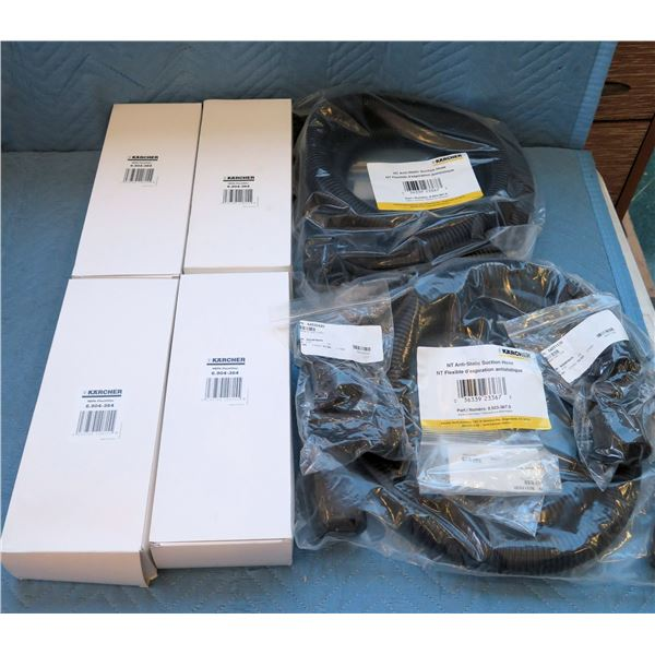 Qty 4 Karcher HEPA-Flachfilter Model 6.904-364 & Anti-Static Suction Hose New