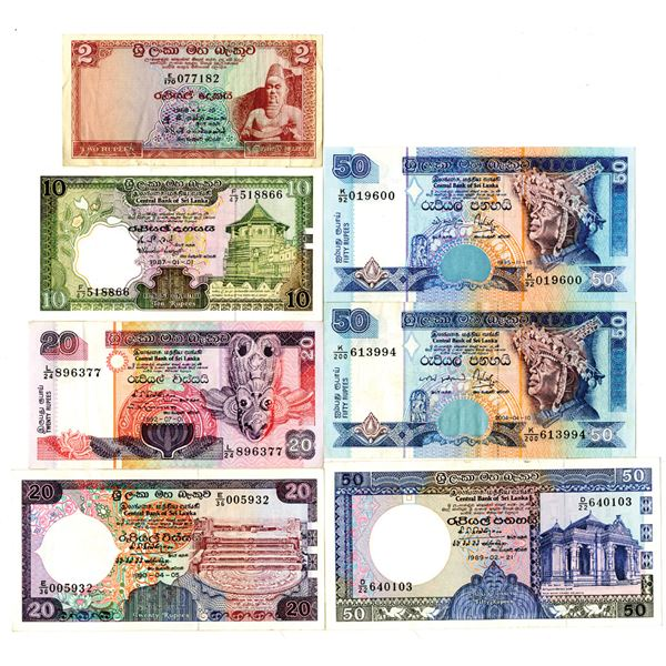 Central Bank of Sri Lanka and Central Bank of Ceylon Group of Issued Banknotes