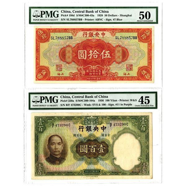 Central Bank of China, 1928 & 1936 Banknote Pair