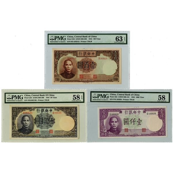 Central Bank of China, 1942 & 1944 Banknote Trio