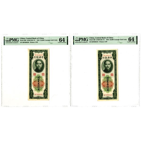Central Bank of China, 1948 Sequential Issued Banknote Pair