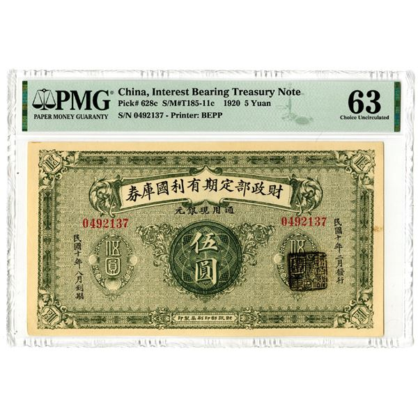 Interest Bearing Treasury Note, 1920 Issued Banknote