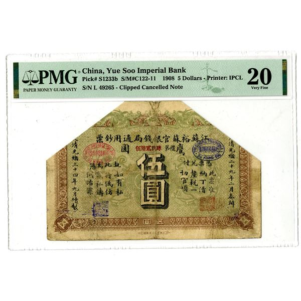 Yue Soo Imperil Bank, 1908 Silver Dollar Issue.