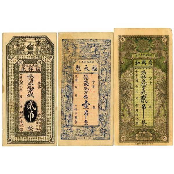 China Private Banknote Trio, ca. 1900-1930's.