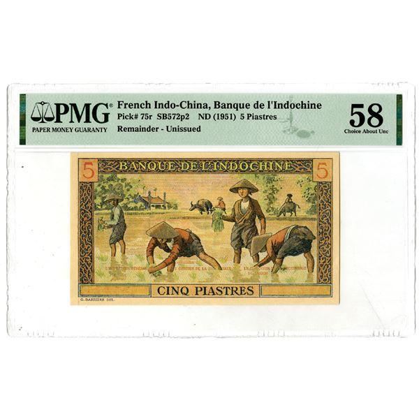 Banque de l'Indochine, ND (1951) Remainder Banknote